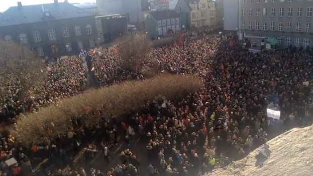In Iceland, citizens took to the streets to demand the prime minister take responsibility after the leaked documents. (Twitter)