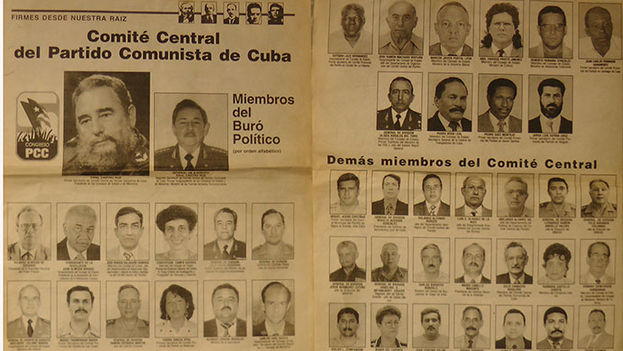 Pages from the newspaper Granma with some members of the Cuban Communist Party Central Committee elected at the 5th Congress