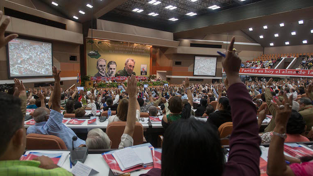 Voting unanimously at the Seventh Congress of the Communist Party of Cuba.
