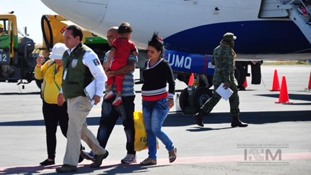 Cuban migrants arrive in Mexico on Wednesday. (INM)