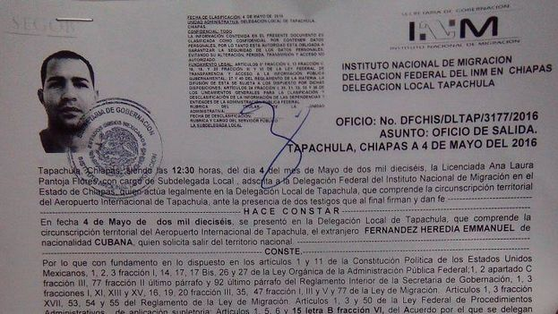 "The official ""exit permit"" that Cuban migrants continue to receive from Mexican authorities."