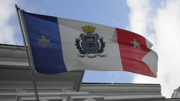 Cienfuegos' flag flutters in the headquarters of the Provincial People's Power (Courtesy)