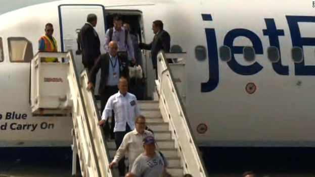 Passengers disembark from JetBlue in Cuba, the first direct flight in decades between the US and Cuba. (CC)