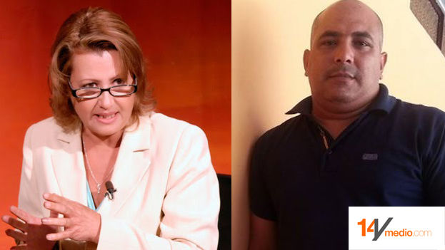 Journalist Aixa Hevia, vice president of UPEC and expelled journalist Jose Ramon Ramirez Pantoja. (Mounting 14ymedio)