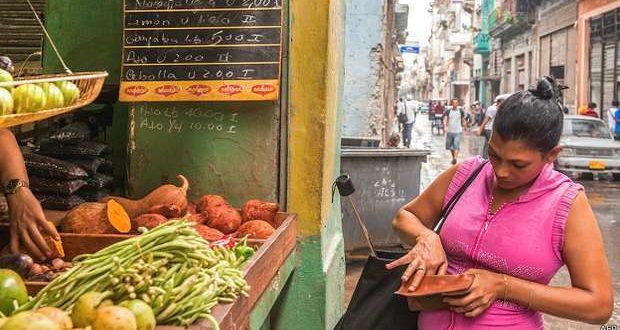 Woman buying food