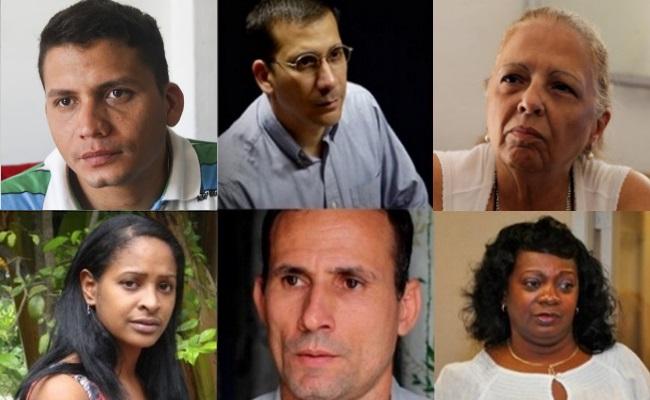 Clockwise from top left: Eliecer Avila, Antonio Rodiles, Martha Beatriz Roque, Laritza Diversent, Jose Daniel Ferrer, Berta Soler