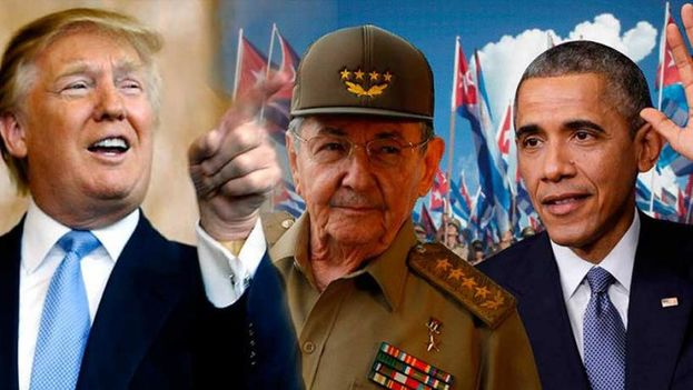 The elected US president, Donald Trump, Raul Castro and Barack Obama. (Social networks montage)