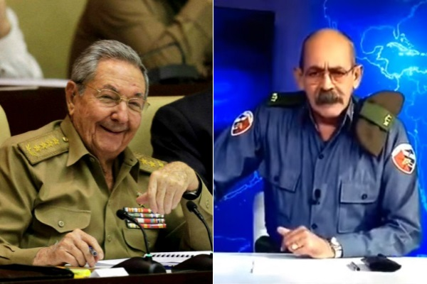 Left: Raul Castro. Right: The news announcer on Cuban television appearing in uniform as if the country was at war.