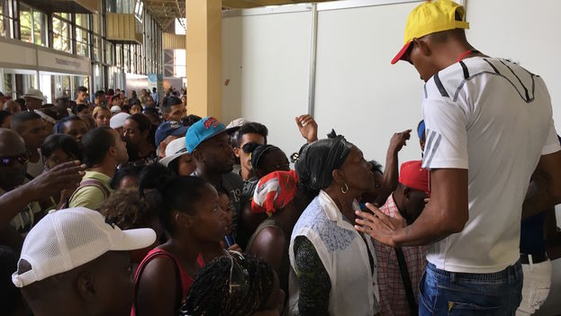 A man tries to contain the crowd that wants to enter the Fair of Havana. (14ymedio)