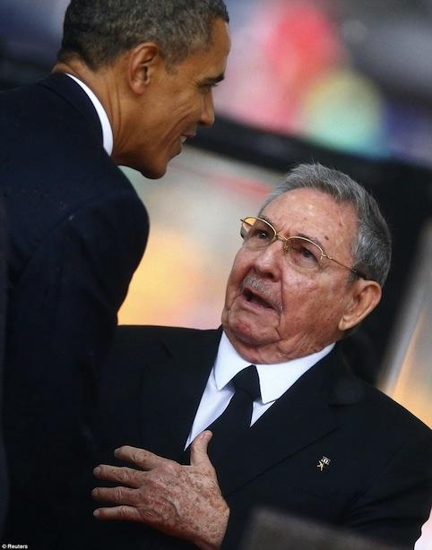 Raul and Obama at Mandela's Funeral