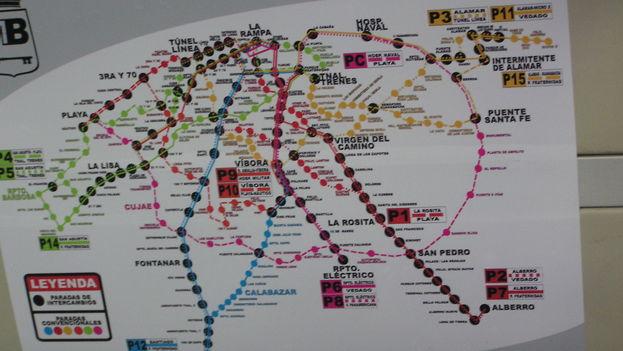 Bus Routes in Havana. (BdG/14ymedio)