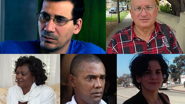 From L to R, top row and then bottom row: Antonio Rodiles, Félix Navarro, Berta Soler, Ángel Moya and Ailer González are some of the activists who signed the roadmap with proposals for a new stage between the United States and Cuba.