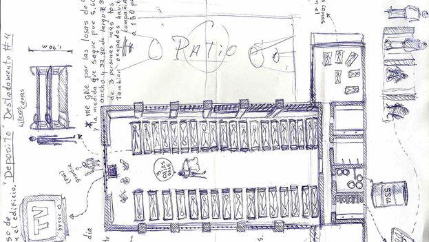 Map of the 4H Company in prison hand drawn by Danilo Maldonado, 'El Sexto'