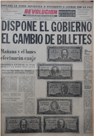 Front page announcing currency exchange in 1961