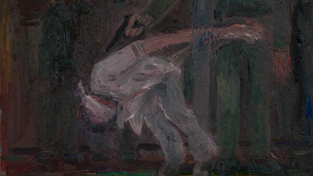 Juan Abreu: '1959. Fall from Grace,' fragment (oil on canvas, 38 x 46 cm)
