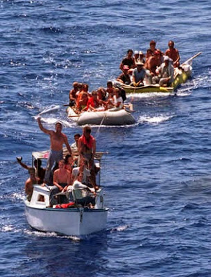 Cubans leave the country in rustic vessels.