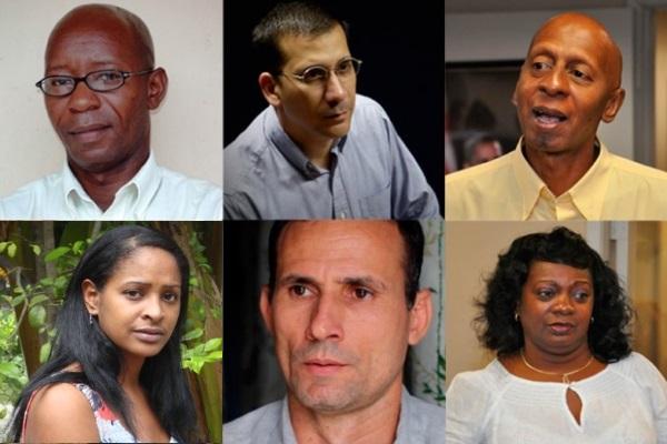 Clockwise from top left – Cuban activists: Manuel Cuesta Morua, Antonio Rodiles, Guillermo Fariñas, Berta Soler, Jose Daniel Ferrer, Laritza Diversent