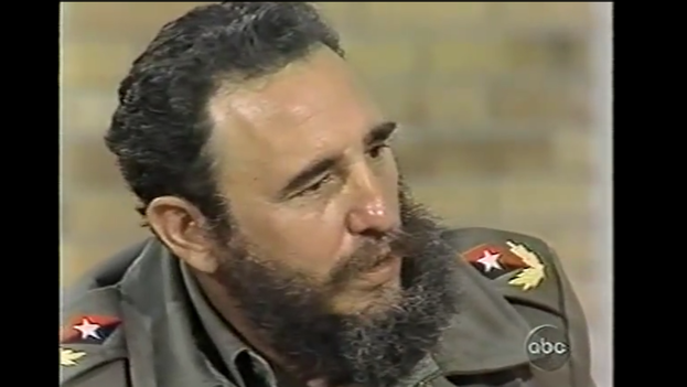 Fidel Castro during an interview with journalist Barbara Walters for 'ABC' in 1977