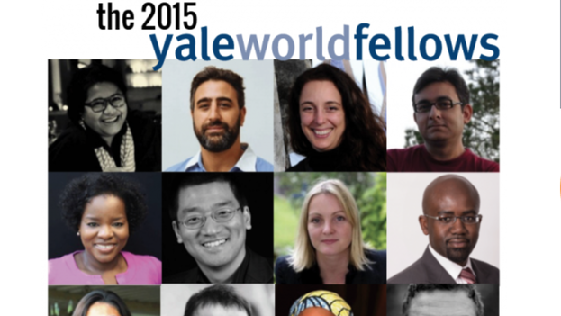 The group of Yale World Fellows for 2015, including the artist Tania Bruguera (Top row, 2nd from right). (Yale University)