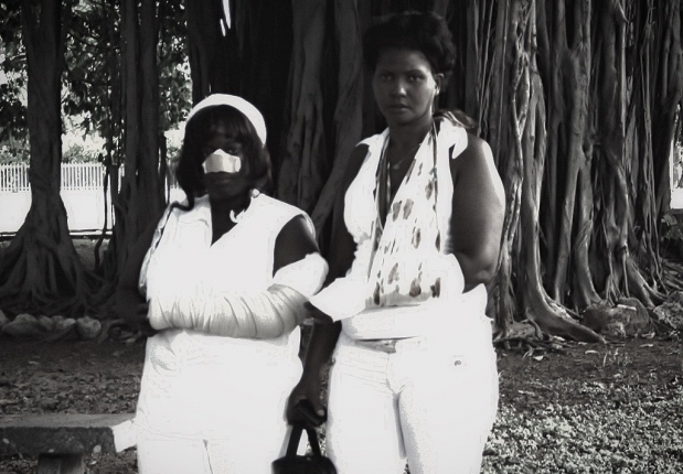 The regime opponents Sonia Garro and Mercedes Fresneda bear the marks of beatings from Castro regime mobs.