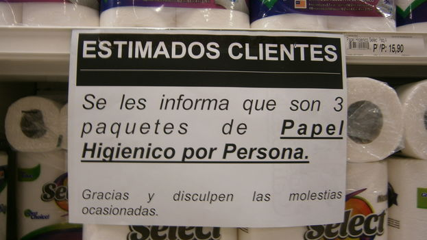 "Toilet paper shortage in Venezuela: ""Dear Customers. We inform you that is is three packages of toilet paper per person. Thank you and forgive us the difficult situation. (Wikimedia)"