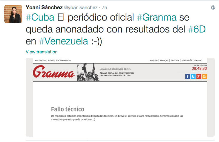 """The official newspaper Granma is dumbfounded by the results in Venezuela: """"Technical Difficulties"""""""