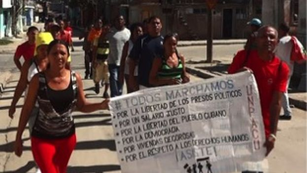 Activists of the Patriotic Union of Cuba marched this Sunday despite the arrests. (UNPACU)