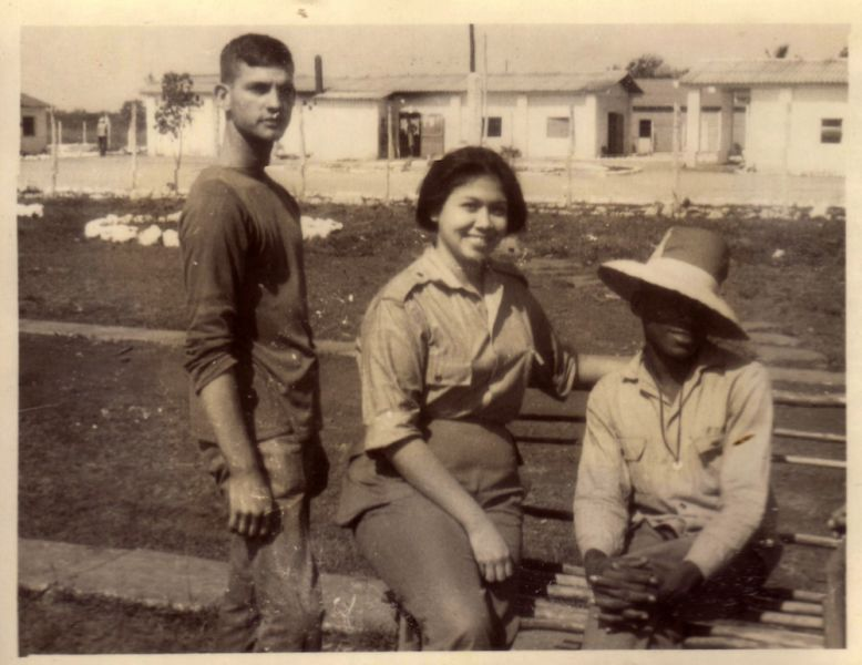 """Seen here is psychologist Liliana Morenza, one of the specialists who joined the UMAP research team of psychologists, with various homosexuals and military officials. Company 4, Battalion 7, """"La Violeta"""" Unit to Aid Production, Camagüey. 1967. (Courtesy of Dr. María Elena Solé)."""