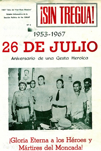 """Cover of Sin Tregua! [Without Truce], informational bulletin of the UMAPs political arm, No. 6, 1967. """"Social hygiene is what this is called"""""""