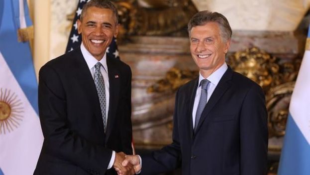 The president of Argentina, Mauricio Macri, received President Barack Obama Wednesday in the Casa Rosada in Buenos Aires, Argentina. (EFE)
