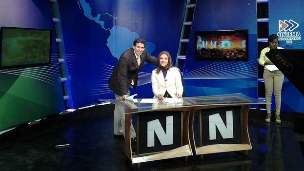 "Mara Gongora, Eduardo Mora and Yisel Filiu on the set of the program ""Good Morning"" in 2014. (Source: Facebook)"
