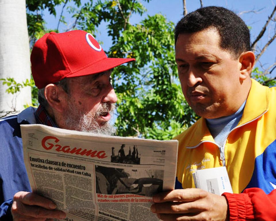 """Fidel Castro and Hugo Chavez in a """"proof of life"""" photo with newspaper. Source: Toronto Star, November 14, 2011"""