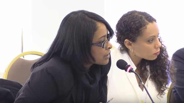 Attorney Laritza Diversent (left) with the activist Yalit Kirenia during a presentation at the Inter-American Commission on Human Rights. (Youtube)