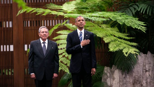 The US president, Barack Obama, and his Cuban counterpart, Raul Castro, last March at the Palace of the Revolution in Havana. (White House)