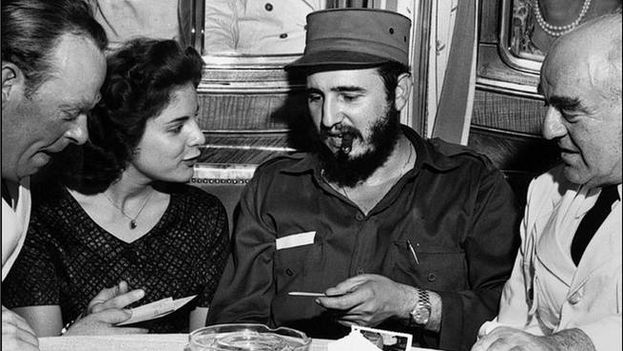 """Photo of Marita Lorenz and Fidel Castro on the cover of the book """"I Was the Spy Loved by the Comandante"""" published by Peninsula"""