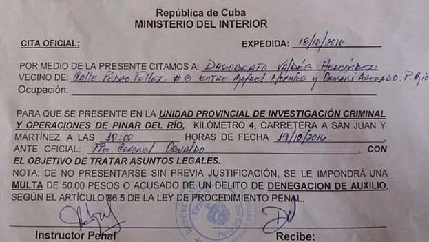 Summons issued to Dagoberto Valdes