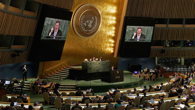 Foreign Minister Bruno Rodriguez defends the UN General Assembly resolution against the embargo to which, in 2016, no country voted no. (@Minrex)